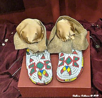 Plateau Indian beaded moccasins, High Desert Museum, Oregon August 2020