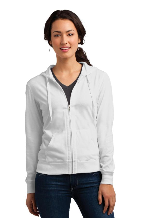 District Women's Fitted Jersey Full-Zip Hoodie. DT2100