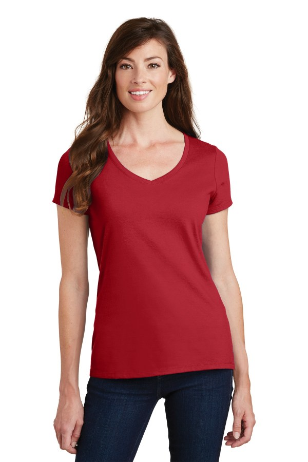 Port & Company Ladies Fan Favorite V-Neck Tee. LPC450V