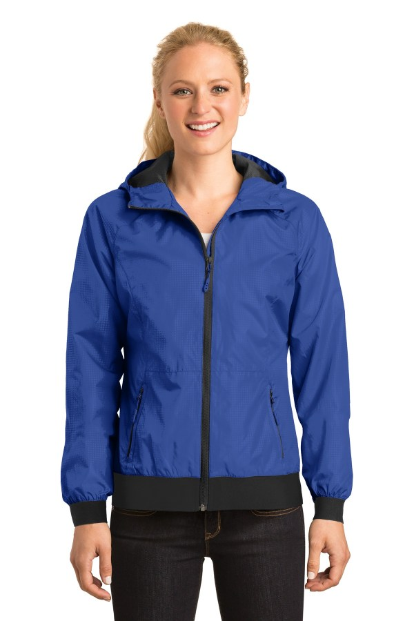 Sport-Tek Ladies Embossed Hooded Wind Jacket. LST53