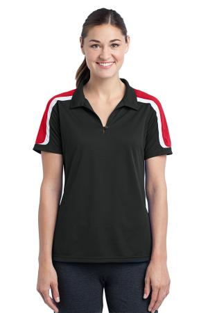 Sport-Tek Ladies Tricolor Shoulder Micropique Sport-Wick Polo. LST658