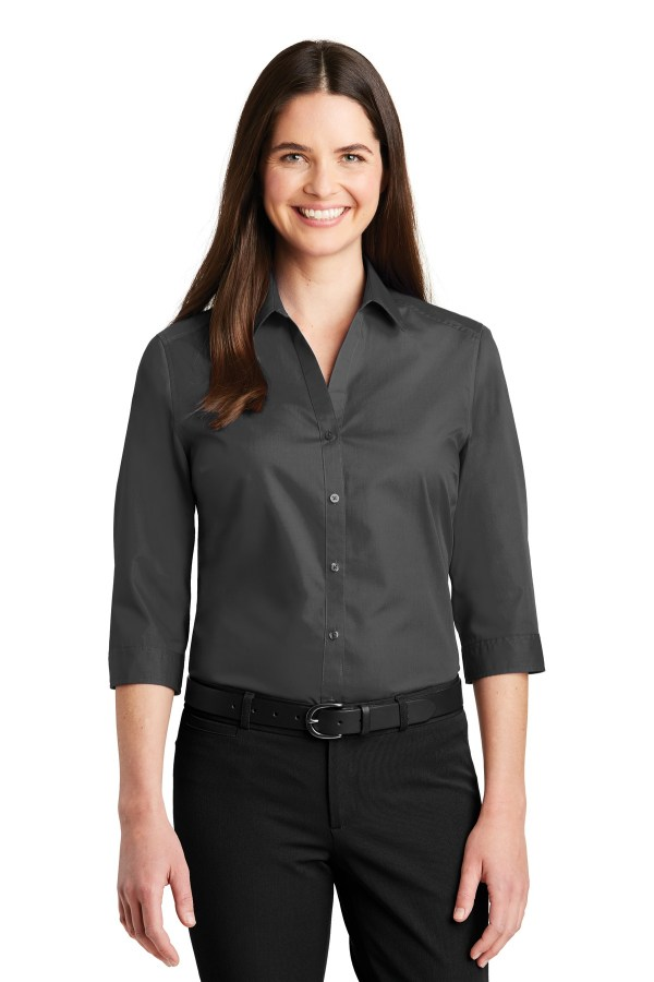Port Authority Ladies 3/4-Sleeve Carefree Poplin Shirt. LW102
