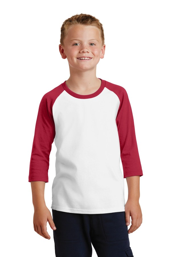 Port & Company Youth Core Blend 3/4-Sleeve Raglan Tee. PC55YRS