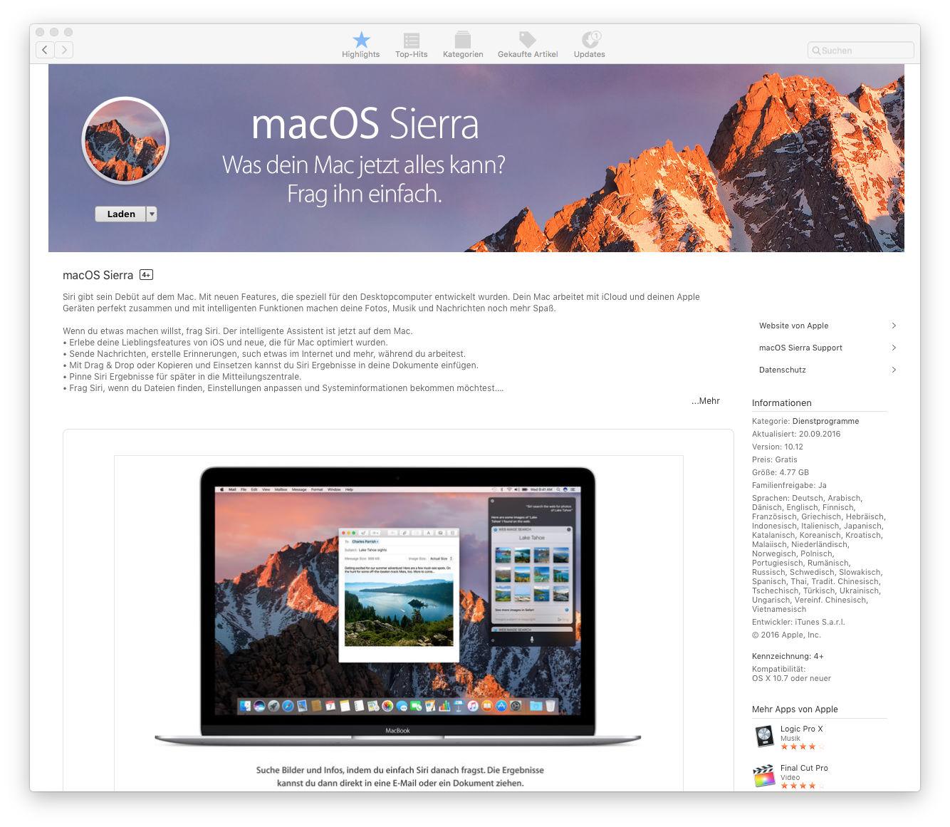 macOS Sierra 10.12 Installation im Mac App Store laden