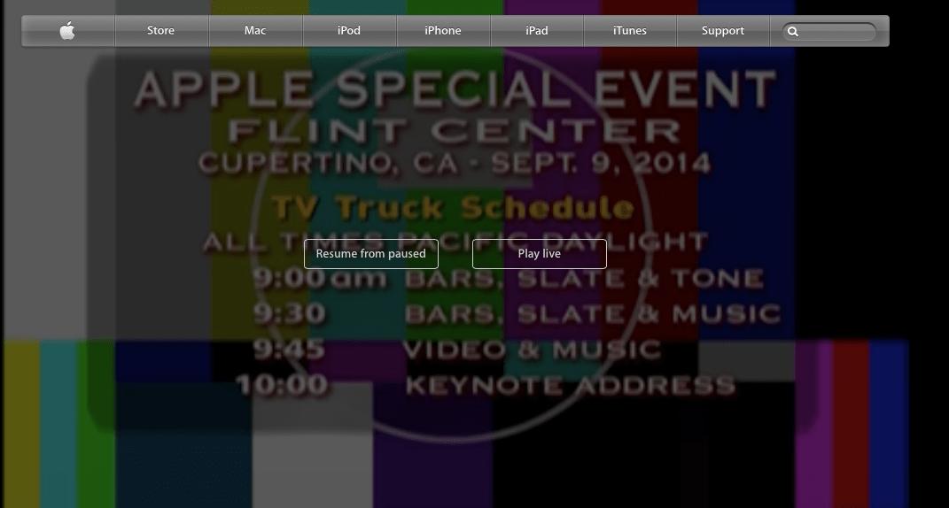 Permanente Aussetzer bei Apple Live Event. Bild zeigt Apple.com Website