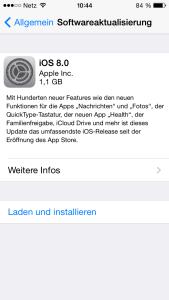iOS 8 Installation auf dem iPhone