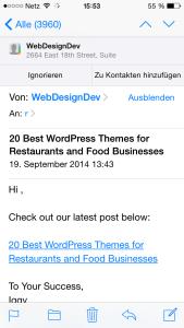 Adressen-Erkennung in Mail unter iOS 8 auf dem iPhone