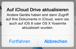 Apple iCloud Drive iOS 8 Warnhinweis
