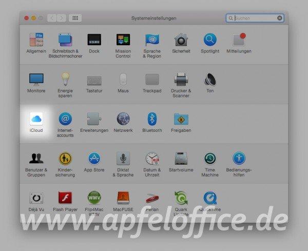 Systemeinstellungen für iCloud unter OS X Yosemite