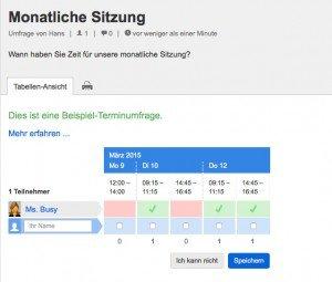 Terminabstimmung in der Cloud mit Mac, iPad oder iPhone über Doodle. Quelle: doodle.com