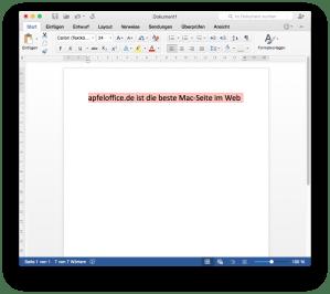 Falsche Textauswahlfarbe in der Preview von Microsoft Word für Mac 2016