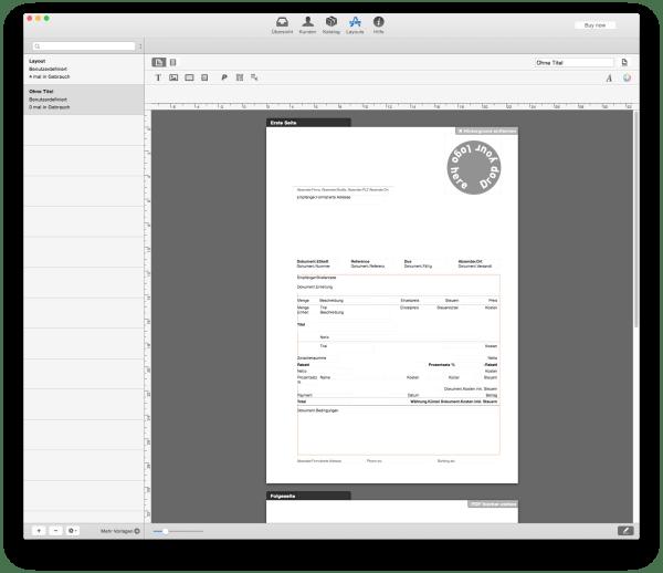 Rechnungsprogramme am Mac: GrandTotal 3 Layouts (vorher)