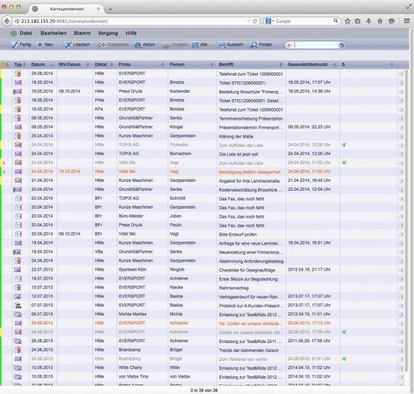TOPIX WebSolution: Korrespondenzen