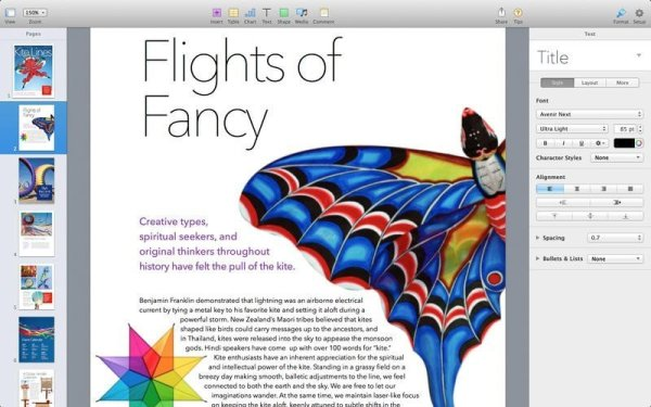 Pages iWork Screenshot. Quelle: Apple