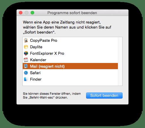 Programme sofort beenden im Finder unter OS X (Mac Systemfunktion)