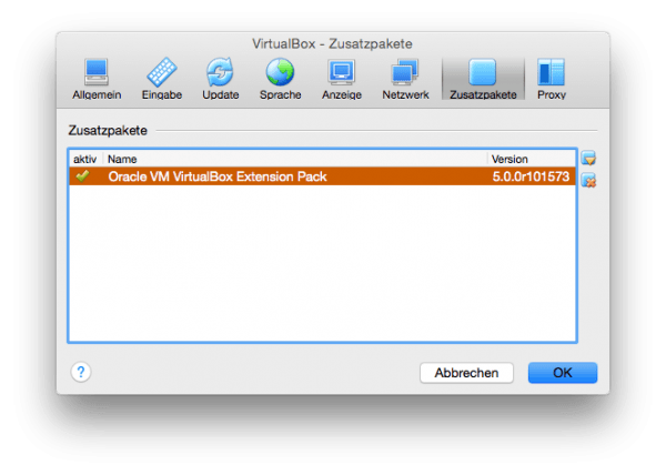 VirtualBox Extension Pack am Mac
