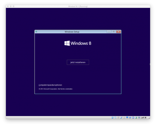 Der Windows Installer in der VirtualBox unter OS X: Microsoft Windows Installation starten