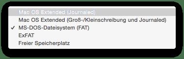 Festplatten-Format Mac OS Extended (Journaled) auswählen