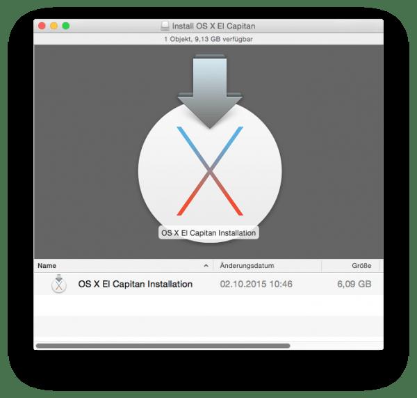 Im Finder ist nun der USB Stick als Volume gemountet und zeigt das Installationsprogramm für OS X an