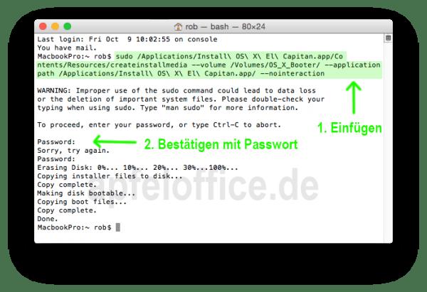 Die Eingabe im Terminal startet ein Apple-Programm zur Erstellung des bootfähigen USB-Stick