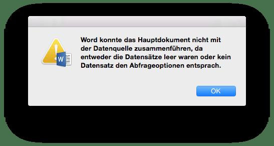 Fehlermeldung in Word für Mac: Verbindung zum Apple Adressbuch / Kontakte App fehlgeschlagen
