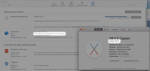 Apple bietet ein Server Update mit falschen Systemvoraussetzungen an. Stand: 24.03.2016