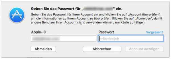 Apple ID und Passwort bereithalten zum Einlösen des Download-Code im Mac App Store