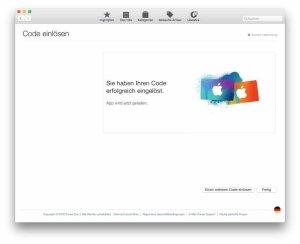 Erfolgreich eingelöst: Mac App Store Gutschein oder Download-Code