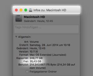 Das Infofenster zum Startvolume unter macOS