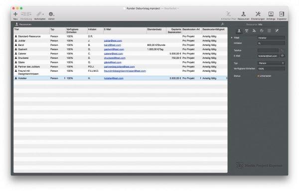 Mitwirkende in einem Projekt werden in der Mac App Merlin Project Express verwaltet