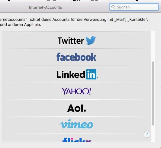 Im macOS bereits eingebaute Anbindungen an soziale Netzwerke – Social Media Marketing am Mac