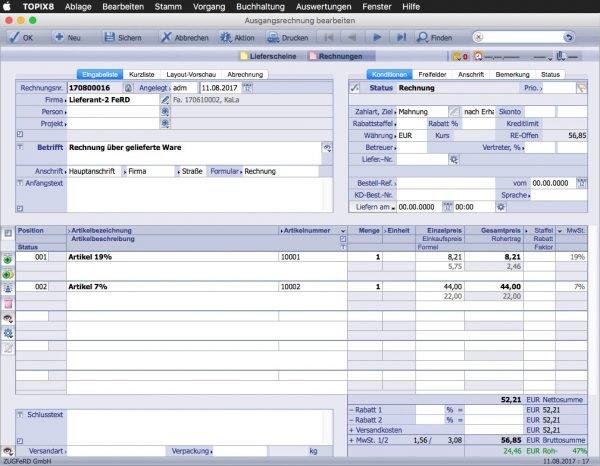 ZUGFeRD Rechnung am Mac Eine Rechnung wird in der Buchhaltung erstellt.