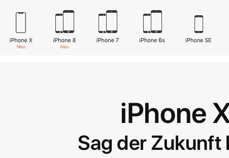 Erhältliche iPhone-Modelle im Herbst 2017. Quelle: Apple
