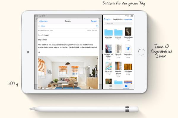 iPad mini 2019 mit Apple Pencil-Unterstützung. Quelle: Apple