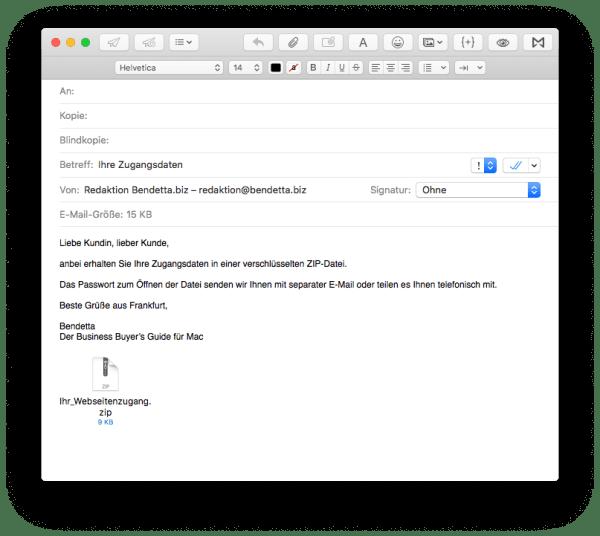 Endergebnis: Fertig vorgeschriebene E-Mail mit verschlüsseltem Zip-Anhang in Apple Mail