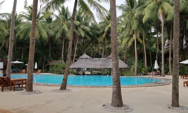 Ein blauer Swimmingpool zwischen Palmen am Coco Grove Beach Resort auf Siquijor