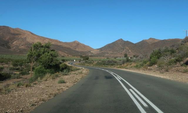 Straße und die Swatberg Mountains im Little Karoo bei Oudtshoorn