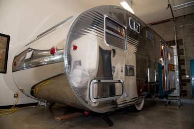 The outside of the Neutron, a vintage-inspired camping trailer from Flyte Camp.
