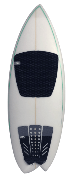 White Asym Riverboard with Green Pinstripe Front