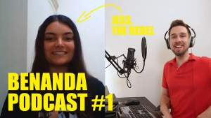 "Jess on the left and Ben on the right, both smiling with text on the screen declaring ""Jess, the rebel"" and ""BENANDA PODCAST #1"""