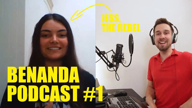 """Jess on the left and Ben on the right, both smiling with text on the screen declaring """"Jess, the rebel"""" and """"BENANDA PODCAST #1"""""""