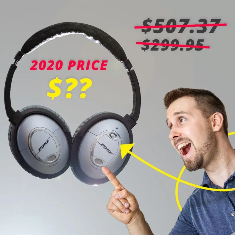 """the text with $507 and $299 crossed out, and """"2020 PRICE $??"""" along with images of Bose QC-15 headphones on the left with Ben pointing to them in amazement on the right"""