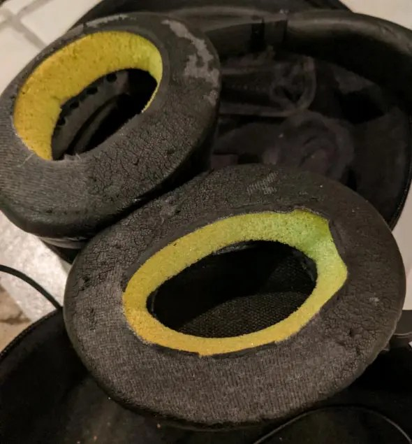 Close up photo of the horribly disguising-looking headphone earpads
