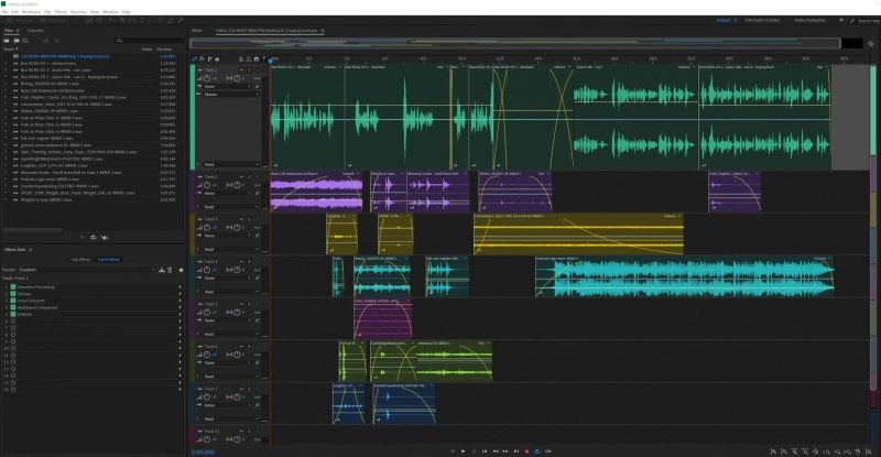 A screenshot of the 30-second Adobe Audition multitrack project file with 7 tracks, layered on top of each other.