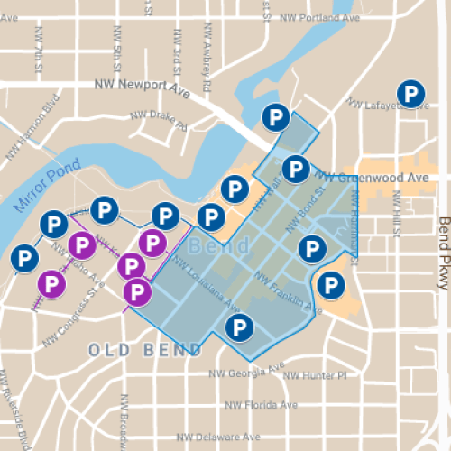 Downtown Bend parking map
