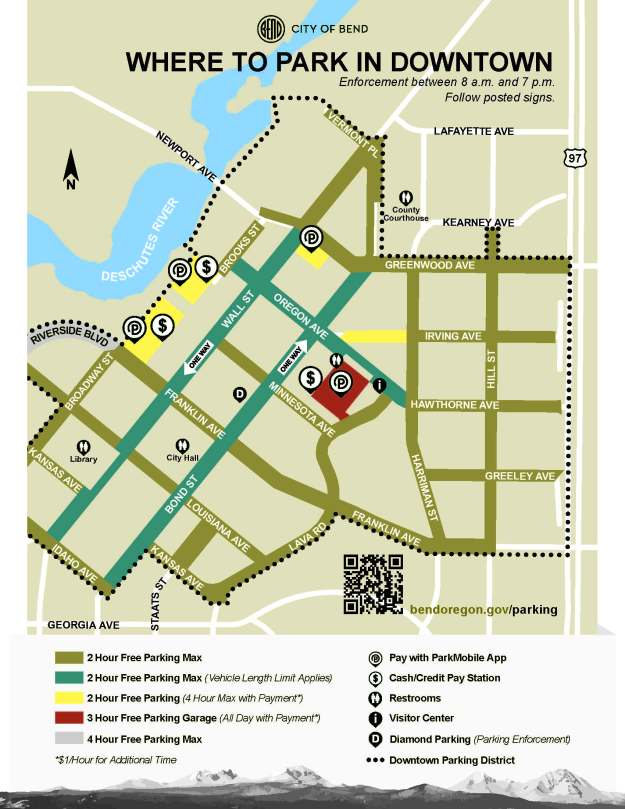 Map of Downtown Bend parking options