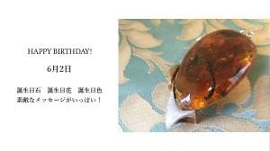 6月2日生まれのあなた。お誕生日おめでとうございます。誕生石はアンバー(琥珀)、意味と誕生花、プレゼントは?