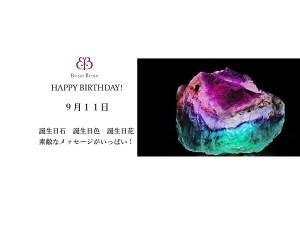 9月11日生まれのあなた。お誕生日おめでとうございます。誕生石はレインボーフルオーライト,意味と誕生花、プレゼントは。