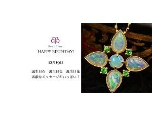 12月19日生まれのあなた。お誕生日おめでとうございます。誕生石はホワイト・オパール。意味と誕生花、プレゼントは