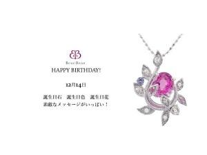 12月14日生まれのあなた。お誕生日おめでとうございます。誕生石はピンク・サファイア。意味と誕生花、プレゼントは